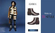 Su #TuSTYLE l'ankle #boot Clyde in pelle lucidata con zip sul lato e tacco 2 cm è abbinato a un look #country, perfetto per un weekend di passeggiate in campagna. #Stonefly #stivaletti