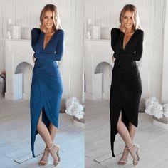 Sexy Women V-Neck Long Sleeve High Waist Bodycon Stretch Irregular Hem Dress
