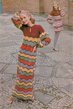 A cool 1960s vintage CROCHET PATTERN to make 2 lovely dresses in zig zag stripes - mini or maxi. Chevron or ripple stitch is easy to do but looks so impressive! ************************************************************************* PLEASE NOTE THIS IS A PDF PATTERN - NOT THE FINISHED DRESSES NOR THE ORIGINAL PATTERN ************************************************************************* The dresses are made using DK yarn (worsted weight) and 3.5mm, 4mm and 4.5 mm so the pattern is…