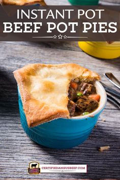 Make this easy recipe for a hearty comforting meal! Instant Pot Beef Pot Pies with carrots, peas, rich sauce, and fluffy crescent roll crust is sure to be a family favorite. #certifiedangusbeef #bestangusbeef #beefrecipe #instantpot #pressurecooker #beefpotpies #potpies