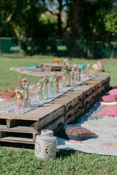 Garden party table decoration decorations flowers garden table pallet cushion