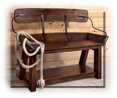 Buckboard Seat Bench - The Western Style is classic, and this replica of an open back buckboard seat reminds us of all those pioneers who settled and tamed the American Wild West. Made with Canadian Ash hardwood and hand-forged iron. Made to last.