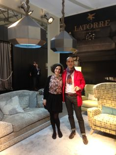 Our Art Director, Guillermo T, with Paola from the studio Fluye, near their creation Diamond lamp #Latorre #luxury #milan #isaloni #design# #trendy #furniture #tendences #classicavantgarde #elegance #style