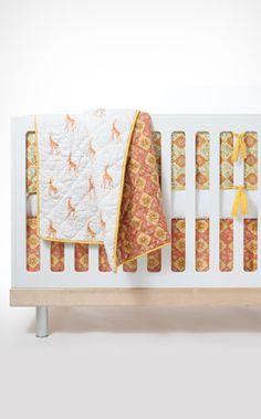 Udaipur Yellow and Orange Giraffe Crib Set