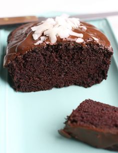 A recipe for delicious vegan chocolate coconut cake with a rich chocolate glaze and coconut on top.