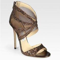 e15fd321c55 Jimmy Choo Leila Glitter Mesh Sandals Bronze Escarpins