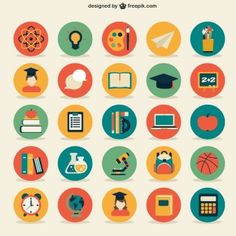A collection of free school vectors from around the web. Jump in for student and teacher cartoon characters, icons, patterns, timetables and more vectors. Design Isométrico, Icon Design, Flat Design Icons, Flat Icons, Ideas Para Logos, Illustration Example, Teacher Cartoon, Website Icons, School Icon