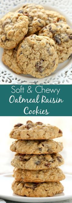 These Soft and Chewy Oatmeal Raisin Cookies are super soft, thick, and loaded with oats and raisins. These cookies are easy to make and so delicious! Brownie Cookies These Soft and Chewy Oatmeal Raisin Cookies Recipe Just Desserts, Delicious Desserts, Dessert Recipes, Yummy Food, Recipes Dinner, Cake Recipes, Donuts, Masterchef, Cookies Ingredients