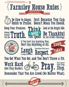 Customized House Rules Poster 16x20 printable by PixelsAndPix. $7.00 USD, via Etsy.