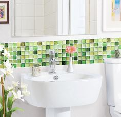 #4limegreendecor - Lime green glass tiles are one of the many ways you can choose to introduce lime green decor to your home. They can be used in any room..which I like a lot.