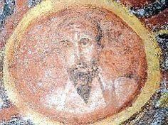 Image of Paul the Apostle (c. 380 C.E.), found under layers of white calcium deposits in the 4th century catacombs of St. Tecla in Rome