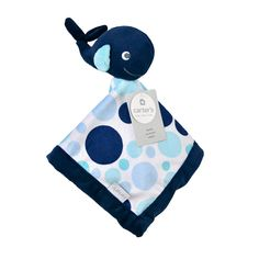 Your sleepy sweetie will love snuggling up with this cozy Carter's blue whale Security Blanket with blue and white dot print. It's ultra soft, and the attached whale plush is just the right size for Baby to cuddle with. Carters Baby, Baby Boy Newborn, Whale Plush, Nautical Nursery, Whale Nursery, Nautical Baby, Boy Blankets, Blue Blanket, Blue Whale