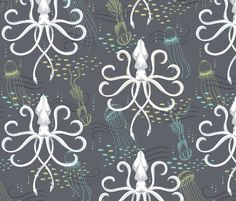 LARGE Ghostly Squid Damask fabric by pattysloniger for sale on Spoonflower - custom fabric, wallpaper and wall decals