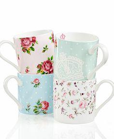 Royal Albert Dinnerware, New Set of 4 Country Roses Mugs..tea time?!