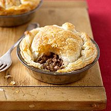 Meat pie - YUM.  Real hit with the whole family and can make so many variations with cheese, mushrooms, potato etc.  I made one large family size pie in our 20cm cake tin instead of individual ones.