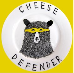 Side Plate - Hand Painted -The Cheese Defender Bear. $45.00, via Etsy.