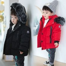 0b8244fac332 Boys Coats Winter Big Fur Collar Hooded Thicken Coats Parka Jackets Kids  Thick Coat For Baby Children Outwear Girls