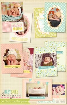 Birth Announcement Photoshop Template for Photographers #digital #psd #templates