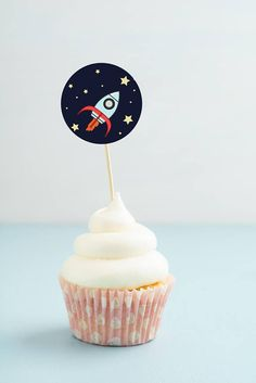 Rocket Ship  Printable Cupcake Toppers   Outer Space Party