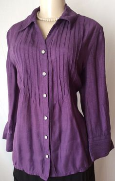 Coldwater Creek Large Purple Button Down Pleated Tunic Top Career Rayon GUC | eBay
