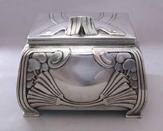 German Jugendstil Silver Tea Caddy, ca.1900.