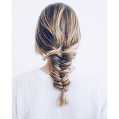 Fishtail brought to you by @jenniekaybeauty / #braid #fishtail #hair #balayage / Prosecco & Plaid