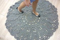 @Krusha carpet #grey doily carpet #crocheted