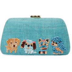 Serpui Women's Tina Dogs Embroidered Clutch Bag - Blue ($259) ❤ liked on Polyvore featuring bags, handbags, clutches, blue, strap purse, embroidery handbags, blue purse, dog print handbags and dog purse