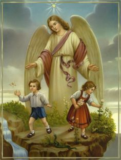 Guardian Angel with Boy and Girl picture Catholic Art Print - x from Germany ready to frame! Angel Images, Angel Pictures, Catholic Art, Religious Art, Benfica Wallpaper, Gardian Angel, I Believe In Angels, Ange Demon, Religious Pictures