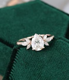 I finally wont have to lurk and daydream anymore! Diamond Cluster Engagement Ring, Vintage Engagement Rings, Vintage Rings, Marquise Cut Diamond, Diamond Cuts, Bridal Gifts, Gold Bands, Wedding Bands, Wedding Things