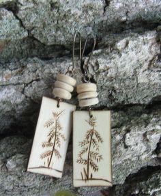 Wood Burned Tree Earrings Earth by BirchandBlooms on Etsy, $20.00