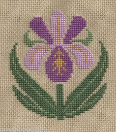 Finished Completed Cross Stitch Prairie Schooler Garden Bloom Purple Preorder | eBay