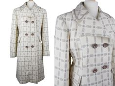 Vintage 1960s Womens Tailored Coat Herolaine London Double Breasted Cream and Light Brown Geometric Check UK 14/16 by BlackcatsvintageUK on Etsy