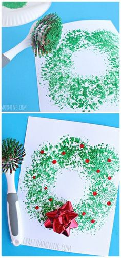 Dish Brush Wreath Craft Easy Christmas craft for kids to make! Easy and Fun DIY Christmas crafts for You and Your Kids to Have Fun. The post 35 Easy and Fun DIY Christmas Crafts for You and Your Kids to Have Fun appeared first on Easy Crafts. Navidad Simple, Navidad Diy, Kids Crafts, Preschool Crafts, Easy Crafts, Creative Crafts, Preschool Learning, Diy And Crafts, Couronne Diy
