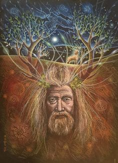 The Lost God of the Hills. Hannah Willow www.facebook.com/Hannah.willow.artist www.hannahwillow.co.uk #art #illustration #pagan