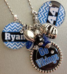 PERSONALIZED Football Mom, Baseball Mom, Customized Sports Jewelry - Chevron, Mascot, Wrestling Mom, sports charm necklace