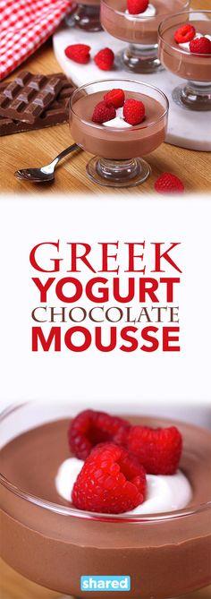 Greek Yogurt Chocolate Mousse Healthy Chocolate Mousse, Chocolate Greek Yogurt, Chocolate Desserts, Chocolate Pudding, Cake Chocolate, Yogurt Recipes, Dessert Recipes, Baking Desserts, Healthy Desserts