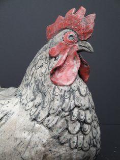 Ceramic Chicken sculpture by Celia Allen Pottery Animals, Ceramic Animals, Ceramic Birds, Clay Animals, Ceramic Clay, Raku Pottery, Pottery Sculpture, Bird Sculpture, Pottery Art