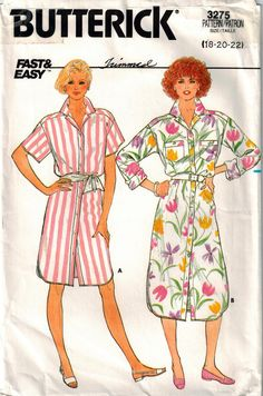 Vintage 80's Dress Sewing Pattern Butterick 3275 Loose Fit Shirtwaist Dress Mock Front Band Back Pleated Yoke Shaped Hemline Plus Size 18 22