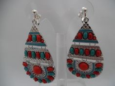 Visit: hipandcoolcliponearringstwo.com and receive up to 30% off. CLIP ON SILVER RED & TURQUOISE STONE DANGLING EARRINGS  $14.99 http://hipandcoolcliponearringstwo.com