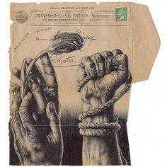 "markpowellartist: "" 'we are all a croupier' bic biro drawing on a antique envelope. (at City of Melbourne) "" Biro Drawing, A Level Art Sketchbook, Drawings, Anatomy Art, Mail Art, Art, Art Journal, War Art, Envelope Art"