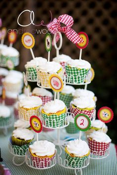 Love the gingham cupcake wraps!
