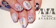 Dot・Feather・Marble mix art nails