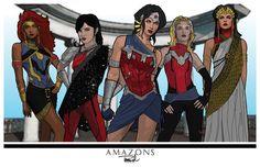 The Wonder Family: Artemis of leader Egyptian Amazon Bana-Mighdall, Donna Troy, Greek Amazon Princess Diana/Wonder, Wonder Girl/Cassandra Sandsmark, Queen Hippolyta of Greek Amazons. The completed WW series.