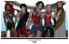 The Wonder Family: Artemis of leader Egyptian Amazon Bana-Mighdall, Donna Troy, Greek Amazon Princess Diana/Wonder, Wonder Girl/Cassandra Sandsmark, Queen Hippolyta of Greek Amazons. The completed WW series.