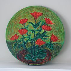 Acrylic painting with pastel on 16 diameter thick wood panel. Original artwork by Brian Ferriby, signed. Inspired by flowers growing by a winery near Suttons Bay in Leelanau. Suttons Bay, Wood Paneling, Printmaking, Original Artwork, Decorative Bowls, Arts And Crafts, Pastel, Etsy, Fine Art