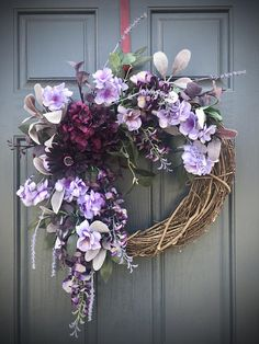 Purple Spring Wreath Gift for Her Housewarming Purple Wreaths
