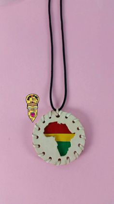 Natural Leather Africa Medallion