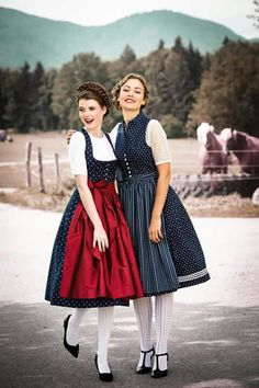 Classy vintage dirndls in red and blue                                                                                                                                                                                 More