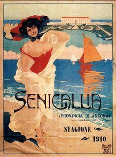 Vintage Italian Posters ~ #illustrator #Italian #posters ~ Senigallia, 1910, Italy